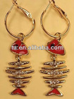NEW Gold Plated Clear Crystals Red Fish Bone Woman Fashion Dangle Hook Earrings