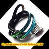 High quality Trendy LONG crystal lanyard with Iphone USB holder
