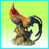 Resin rooster for garden display
