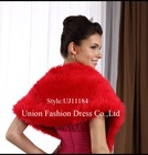 UJ11184Red fur jacket with simple&fashionable style,2012 new style wrap, reversible wrap, Hotsale