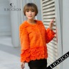 Hot orange sheared genuine rex rabbit natural fur coats for women #082-A-1