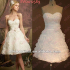 2012 New Fashion A-line Sweetheart Ruffled Organza Mini Skirt Modern Short Wedding Dress