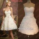 2012 New Fashion A-line Sweetheart Ruffled Organza Mini Skirt Modern Short Wedding Dress