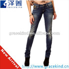 2012~2013 Latest Design 98% Cotton 2% Spandex Metal Studs Sexy Women Skinny Jeans (GKC0808)
