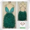 Turq Chicken Feather Short Sexy Dress 2264#