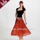 Chiffon pleated skirt,red maxi skirt,long skirt,fashion women skirtS10003