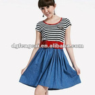 fashionable 2011 cotton printed short sleeve ladies casual dress