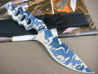 Blue Version Four Holes Jungle Knife Military Knife with ABS Handle UDTEK00463