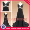 PMD231 wholesale black chiffon crystal beaded graduation party prom dress