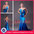 PMD217 enchanting elastic satin royal blue bow front garment district prom dresses