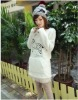 Fashionable Zebra Embroidered Downy Long T-shirt White LP12092713