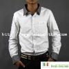 Men's Cotton Contrast Color Long Sleeve White Shirt