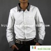 Men's Cotton Contrast Color Long Sleeve White Shirt