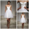 MB2018 Concise Ruffle Strapless Sweetheart Sleeveless White Western Short Bridesmaid Dresses 2012