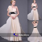 Long Ivory Chiffon with Black Satin Waistband One Shoulder Bridesmaid Party Formal Dresses Evening Dress
