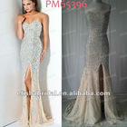 Sexy Champange/Silver High Slit Chiffon Strapless Beaded Bodice Prom Dress