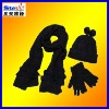 ST-Tr06#adult black knitted three sets ,scarf, hat ,glove 100%acrylic