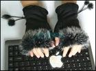 winter black half mittens in winter NUS03MY80