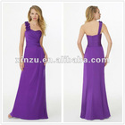 Latest Popular Two Bone Purple A-line One Shoulder Ruched Satin and Chiffon Patterns for Bridesmaids Dresses