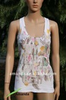 ladies tank top with print and hotfix stones