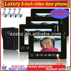 "Wholesales 9"" TFT LCD touch key wired video door intercom 1 to 4,support 4CH video in, 1CH video out,door unlock"