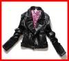 fashion women pu leather jackets, black plain jackets