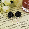 Fashion Jewelry Shamballa Earring Black Crystal Alloy Bead Jewelry FE002
