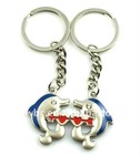 fashion alloy blue and red epoxy dolphin couple key chain(K100051)