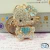 3D Hello Kitty Keychain Bag Chain Blue Bow Sparkle Crystal Rhinestone