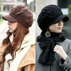 fashion knitted hat girls winter hat with brim