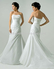 New Arrival Ruffle Strapless Pure White Taffeta Wedding Dress