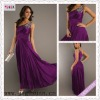 2166-1hs Hot Sale One Shoulder Beading Sequin Empire A-Line Purple Taffeta long purple bridesmaid dresses