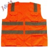 High Counter-Reflectivity Tape 100%Polyester Knitted Fabric or Oxford Orange Safety Vest