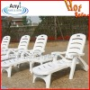Adjustable white plastic beach chair for pool or garden
