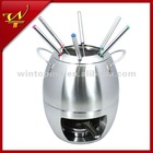 stainless steel oval cheese/chocolate fondue set