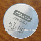 Brushed mylar with epoxy resin domed labels
