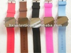 2012 hot sale square silicone led watch with mirror for promotion