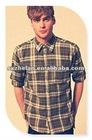 100% cotton yarn dyed check design vintage wash casual shirt for men