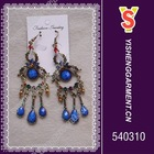 Blue stone dangle earrings, trendy costume earring and fashion designs available