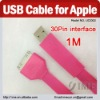 1M Colorful 30pin interface USB Cable for Apple iPad/iPhone/iPod, Flat Cable(Pink)