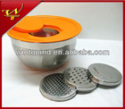 5QT Stainless steel Mixing bowl with 3pcs Grater set&Plastic Lid