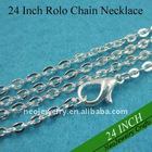 24 Inch Sterling Silver Plated Rolo Chain Necklaces