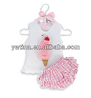 baby ice cream suits girls plaid sets,baby 2pcs sets,vest+shorts very cute