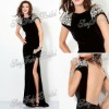 Poretrait with beaded A-line Anke length natural waist Chiffon open back dress black prom dresses made in china 2013