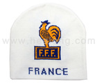 France Knitted Soccer Hat - White/Blue/black