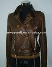 Ladies 2012 Fashion garment dyed PU Leather Jacket