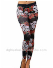 Skull printed Roses Seamless Leggings new design spandex ladies fashion long women leggings