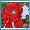 red vintage flower girl lace headband