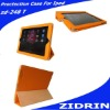 for ipad leather case in lichee grain design orange color be custermized