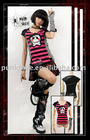 Punk Rave striped T-shirt with sleeve cover T-231